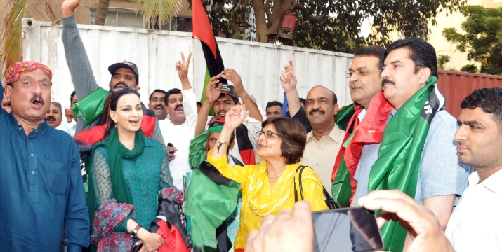With PPP cyclists from Vehari Outside Bilawal House for October18 Jalsa Karachi