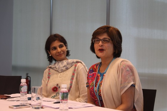 Moomal Mehta (L) Farahnaz Ispahani (R) in Mumbai on August 6, 2014. (Asia Society India Centre)