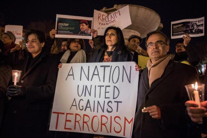 Ms Farahnaz Ispahani and other American Muslims protesting against terrorism in Pakistan